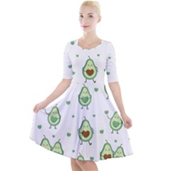 Cute Seamless Pattern With Avocado Lovers Quarter Sleeve A-line Dress