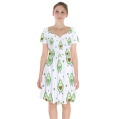 Cute Seamless Pattern With Avocado Lovers Short Sleeve Bardot Dress