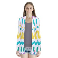 Abstract Pop Art Seamless Pattern Cute Background Memphis Style Drape Collar Cardigan