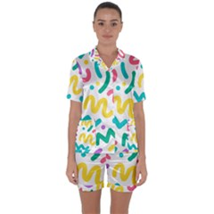Abstract Pop Art Seamless Pattern Cute Background Memphis Style Satin Short Sleeve Pyjamas Set