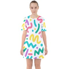 Abstract Pop Art Seamless Pattern Cute Background Memphis Style Sixties Short Sleeve Mini Dress