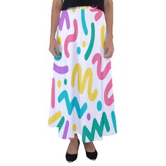 Abstract Pop Art Seamless Pattern Cute Background Memphis Style Flared Maxi Skirt