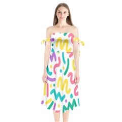 Abstract Pop Art Seamless Pattern Cute Background Memphis Style Shoulder Tie Bardot Midi Dress