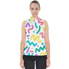 Abstract Pop Art Seamless Pattern Cute Background Memphis Style Mock Neck Shell Top
