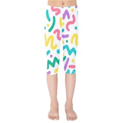 Abstract Pop Art Seamless Pattern Cute Background Memphis Style Kids  Capri Leggings