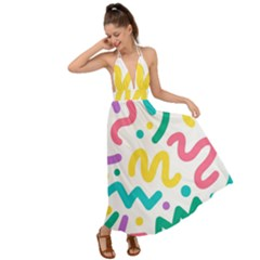 Abstract Pop Art Seamless Pattern Cute Background Memphis Style Backless Maxi Beach Dress by BangZart