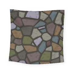 Cartoon Colored Stone Seamless Background Texture Pattern   Square Tapestry (small)