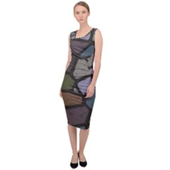 Cartoon Colored Stone Seamless Background Texture Pattern   Sleeveless Pencil Dress