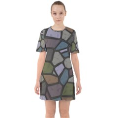 Cartoon Colored Stone Seamless Background Texture Pattern   Sixties Short Sleeve Mini Dress