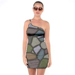 Cartoon Colored Stone Seamless Background Texture Pattern   One Soulder Bodycon Dress