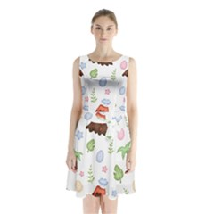 Cute Palm Volcano Seamless Pattern Sleeveless Waist Tie Chiffon Dress