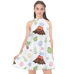 Cute Palm Volcano Seamless Pattern Halter Neckline Chiffon Dress