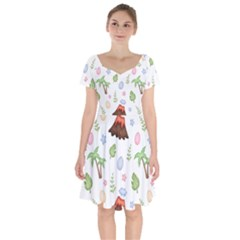 Cute Palm Volcano Seamless Pattern Short Sleeve Bardot Dress