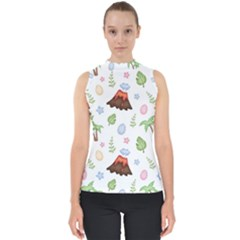 Cute Palm Volcano Seamless Pattern Mock Neck Shell Top