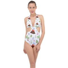 Cute Palm Volcano Seamless Pattern Halter Front Plunge Swimsuit by BangZart