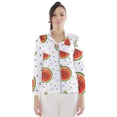 Seamless-background-pattern-with-watermelon-slices Women s Windbreaker by BangZart