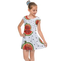 Seamless-background-pattern-with-watermelon-slices Kids  Cap Sleeve Dress by BangZart