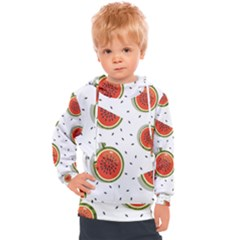Seamless-background-pattern-with-watermelon-slices Kids  Hooded Pullover
