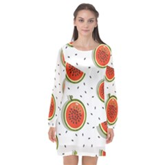 Seamless-background-pattern-with-watermelon-slices Long Sleeve Chiffon Shift Dress
