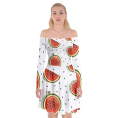Seamless-background-pattern-with-watermelon-slices Off Shoulder Skater Dress