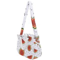 Seamless-background-pattern-with-watermelon-slices Rope Handles Shoulder Strap Bag