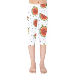 Seamless-background-pattern-with-watermelon-slices Kids  Capri Leggings