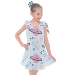 Cute Planet Space Seamless Pattern Background Kids  Tie Up Tunic Dress