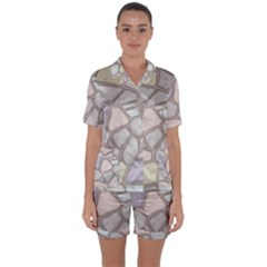 Cartoon Colored Stone Seamless Background Texture Pattern Satin Short Sleeve Pyjamas Set