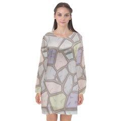 Cartoon Colored Stone Seamless Background Texture Pattern Long Sleeve Chiffon Shift Dress