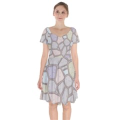 Cartoon Colored Stone Seamless Background Texture Pattern Short Sleeve Bardot Dress