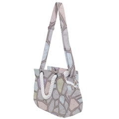 Cartoon Colored Stone Seamless Background Texture Pattern Rope Handles Shoulder Strap Bag