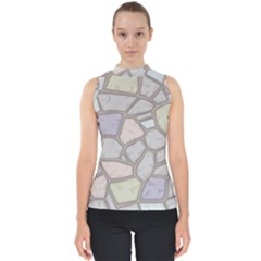 Cartoon Colored Stone Seamless Background Texture Pattern Mock Neck Shell Top