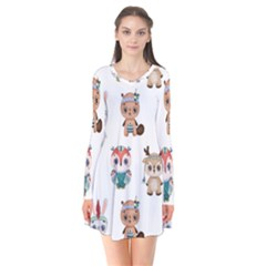 Cute Cartoon Boho Animals Seamless Pattern Long Sleeve V-neck Flare Dress