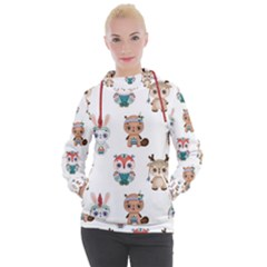 Cute Cartoon Boho Animals Seamless Pattern Women s Hooded Pullover