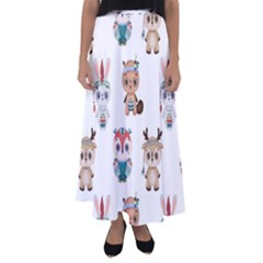 Cute Cartoon Boho Animals Seamless Pattern Flared Maxi Skirt