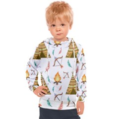 Cute Cartoon Native American Seamless Pattern Kids  Hooded Pullover