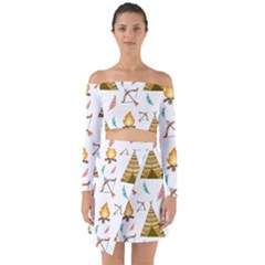 Cute Cartoon Native American Seamless Pattern Off Shoulder Top With Skirt Set