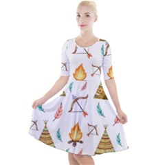 Cute Cartoon Native American Seamless Pattern Quarter Sleeve A-line Dress