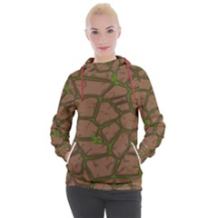 Cartoon Brown Stone Grass Seamless Background Texture Pattern Women s Hooded Pullover