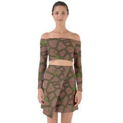 Cartoon Brown Stone Grass Seamless Background Texture Pattern Off Shoulder Top With Skirt Set
