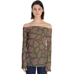 Cartoon Brown Stone Grass Seamless Background Texture Pattern Off Shoulder Long Sleeve Top