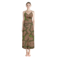 Cartoon Brown Stone Grass Seamless Background Texture Pattern Button Up Chiffon Maxi Dress