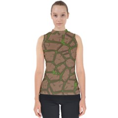 Cartoon Brown Stone Grass Seamless Background Texture Pattern Mock Neck Shell Top
