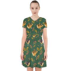 Cute Seamless Pattern Bird With Berries Leaves Adorable In Chiffon Dress