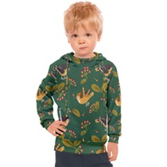 Cute Seamless Pattern Bird With Berries Leaves Kids  Hooded Pullover