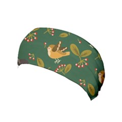 Cute Seamless Pattern Bird With Berries Leaves Yoga Headband