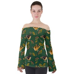 Cute Seamless Pattern Bird With Berries Leaves Off Shoulder Long Sleeve Top