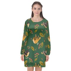 Cute Seamless Pattern Bird With Berries Leaves Long Sleeve Chiffon Shift Dress