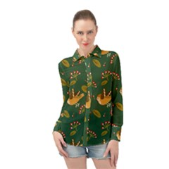 Cute Seamless Pattern Bird With Berries Leaves Long Sleeve Chiffon Shirt