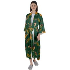 Cute Seamless Pattern Bird With Berries Leaves Maxi Satin Kimono by BangZart